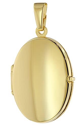 trendor Medaillon Anhänger 333 / 8K Gold zauberhafter Halsschmuck für Damen, einzigartiger Goldschmuck für Frauen, liebevolle Geschenkidee, 51090