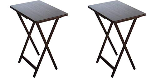 COLIBROX Set of 2 Folding TV Tray Table Living Room Home Office Accent Furniture Display Decoration Sturdy Organizer Coffee Side End Sofa Table Walnut