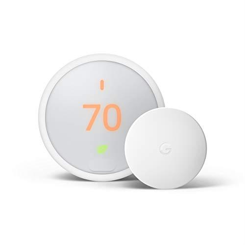 Google Nest Thermostat E - Smart Thermostat + Google Nest Temperature Sensor Bundle - White