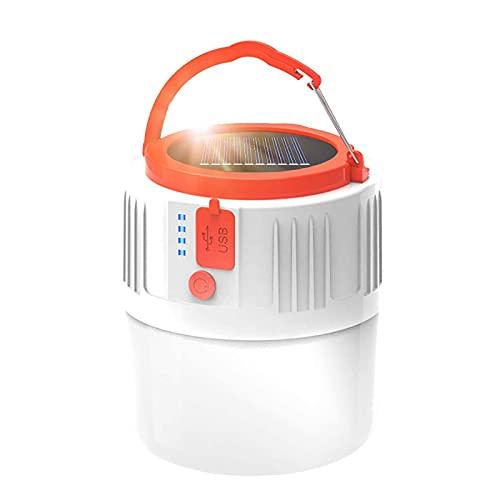 Lámpara LED solar de camping – Linterna recargable por USB, portátil, linterna de jardín, luz de emergencia, Power Bank 6 modos, luz de búsqueda impermeable para pesca nocturna, caza (blanco)