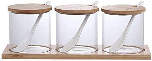 HGJINFANF Fuerte y Firme, imprescindible para el hogar Borrar Vidrio Spice Rack pequeño bambú Spice Rack Conjunto de Cajas de condimento para el hogar bellamente