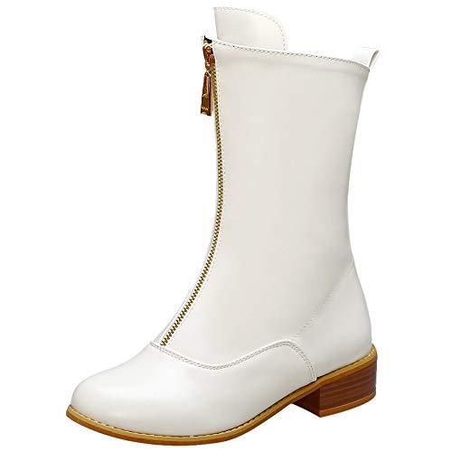 NIGHT CHERRY Damen Gemütlich Flach Mid Calf Dress Stiefel Geschlossen Motorradstiefel Reißverschluss White Gr 48 Asiatisch