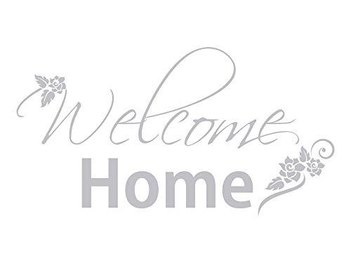 GRAZDesign Fenstertattoo Glastür Aufkleber Flur Welcome Home mit Blumen, Fensterfolie, Glastattoo Eingang Tür / 56x30cm
