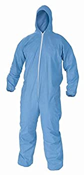 Disposable Coverall Suits Hooded Protective Suit,X Large Blue 1 Pack