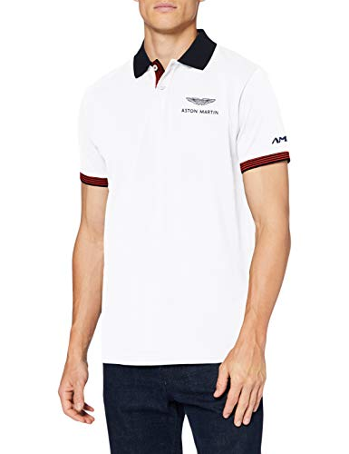 Photo of Hackett London Men's AMR Hackett Print SS Polo Shirt, 800 White, XS
