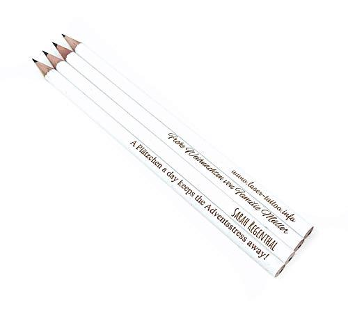 10x edle weiße Bleistifte mit Wunschgravur (Personalisierbar)