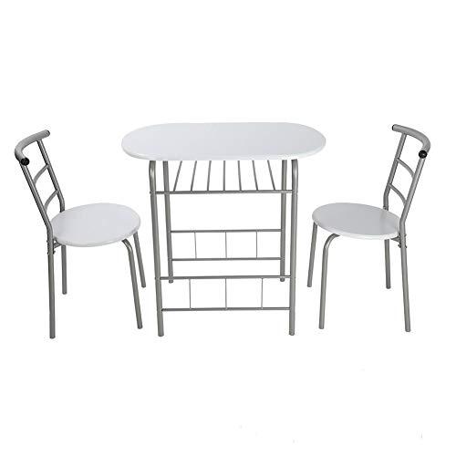 EBTOOLS Essgruppe Esstisch Küchentisch Sitzgruppe Küche Frühstückstisch mit 2 Stühlen Bartisch Stehtisch, Küchenbar Küchen-Tisch mit Speicherschicht für Esszimmer Küche, MDF und Alugestell