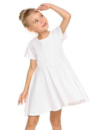 Trudge Mädchen Swing Kleider für Kinder Sommerkleid Hem Skaterkleid Kurzarm T Shirt Kleid Baumwolle Prinzessin Kleid einfarbig Basic FatternKleid Rundhals Freizeitkleidung Gr.92-164, A Weiß, 150