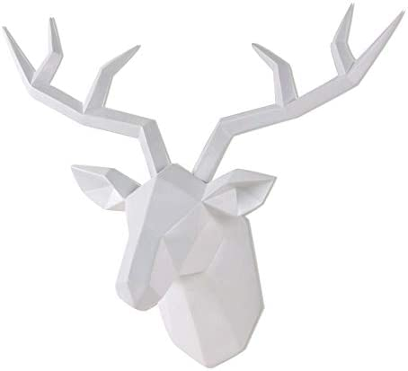 Deer Head Wall Decor Geometrical White Deer Antlers Wall Sculpture Faux Taxidermy Resin Wall product image
