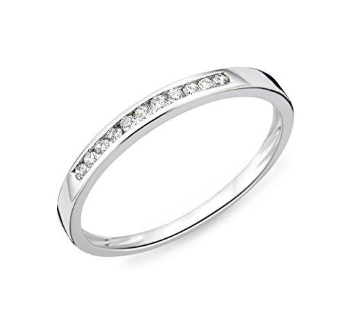 Miore Ring Damen Ewigkeitsring Weißgold 9 Karat / 375 Gold Diamant Brillianten 0.10 ct
