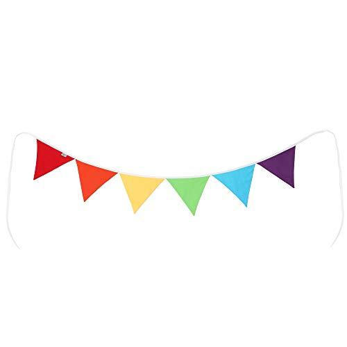 PREMYO Banderines de Tela Infantiles - Guirnaldas Decoración Habitación Bebé Niño - Triángulos Arco-Iris Multicolor