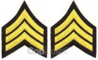 Uniform Chevrons - LASD/CDCR - Medium Gold on Black - 3-inch wide - Sergeant - Pair