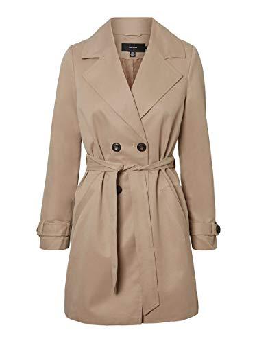Vero Moda Damen VMBERTA 3/4 Jacket COL Trenchcoat, Braun, M