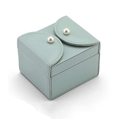 NC Boîte à Bijoux Boîte de Rangement de Bijoux européenne Petite boîte à bagues de Voyage Portable Double Couche Boîte de Collection de Bijoux (Couleur : Vert Haricot, Taille : 10,5 * 9 * 7,8 cm)