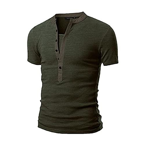 Masrin Herren T-Shirt Sommer Einfarbig Tops Mit Knopfleiste Lässig Kurzarm V-Ausschnitt Schlanke Tunika Bluse Basic Sport Fitness Pullover(XXL,Grün)