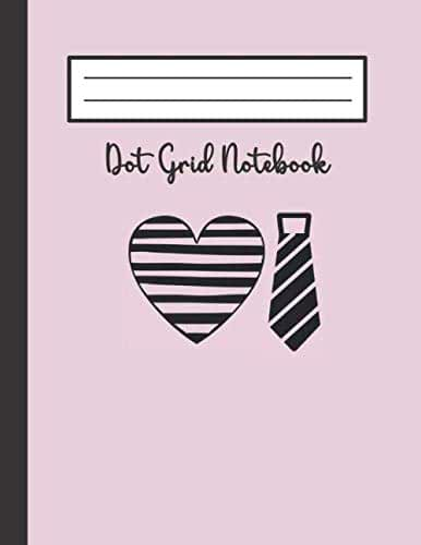 Dot Grid Notebook: Red Striped Necktie Design in Black/Dark Gray Cover | Large 120 Pages of Dotted Paper 8.5 X 11 Letter Size | Bullet Graphing Pad Journal For Drawing & Note Taking (Pink)