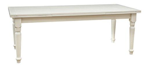 Biscottini Table Extensible en Bois Massif de Tilleul – Style Rustique – Structure Blanche vieillie L 220 x P 100 x H 80 cm