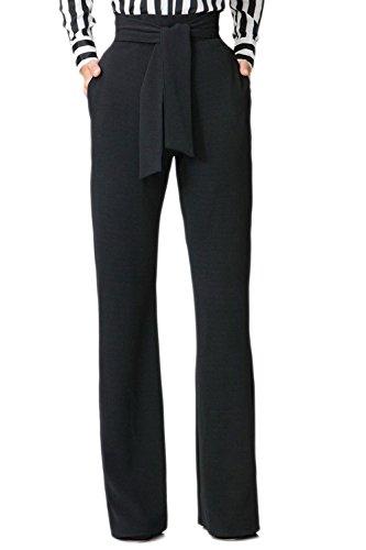 Jumojufol Donna Elegante Alto Vita Dritto Benda Tasche A Gambe Larghe Pantaloni Lunghi Black M