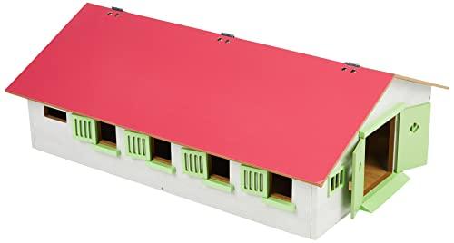 Van Manen Kids Globe Farming Granja Ecuestre con 9 establos, Caballo, cuadra de Madera con Techo Plegable, 610188, Color Rosa