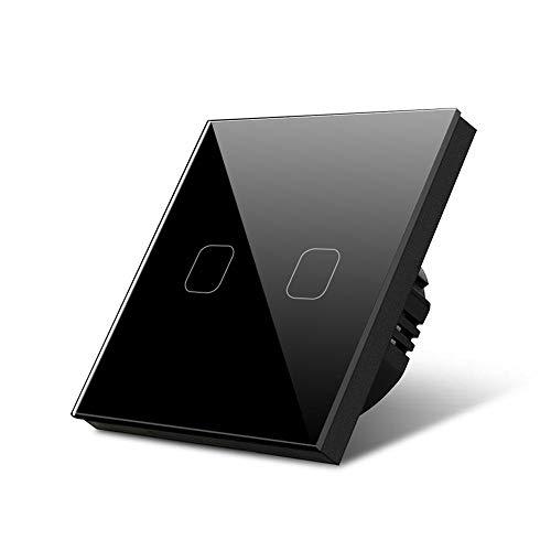 1/2/3 Gang 1 Way Light Touch Switch Sensor Empotrado de la lámpara de pared Interruptor del interruptor de cristal templado Estándar 220V-240V Interruptor Luz Pared (Color : 2 Gang 1 Way Black)