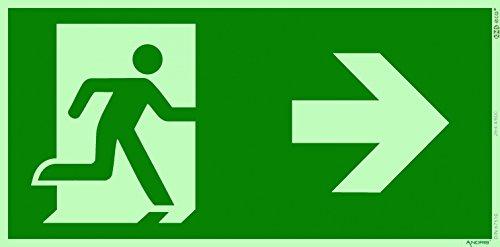 Orig. ANDRIS® Marken-Schild Fluchtweg/Notausgang/Rettungsweg Symbol rechts ISO Folie nachleuchtend & selbstklebend 300x150mm