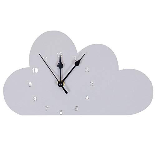 Versier LKU Kamerdecoratie Scandinavische roze wolk wandklok kinderkamer Scandinavische decoratie, grijs