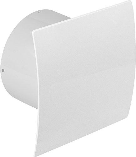 Ø 100 mm Design Badventilator hochglanz weiß mit Zugschalter und Rückstauklappe WEB100W Lüfter Ventilator Front Wandlüfter Badlüfter Ventilator Einbaulüfter Bad Küche leise 10 cm