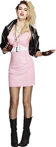 Damen Fancy Party Kleid Fever 80's Rocker Rock Star Diva Madonna Kostüm Outfit, Pink