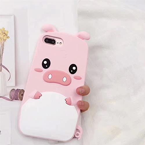 Custodia per telefono con maialino adorabile simpatico cartone animato 3D per iPhone 6 6s 7 8 Plus X XR XS Max Custodia morbida in gomma siliconica, H, per iPhone 7 8
