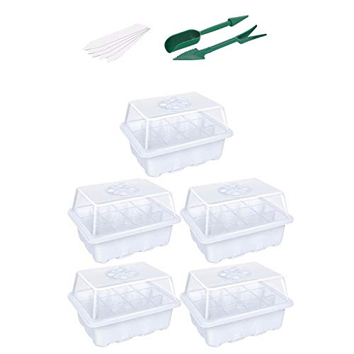 Seedling Tray,Pack Seed Germination Growing Starter Nursery Tray for Greenhouse Plants Seedling Propagation Germination White