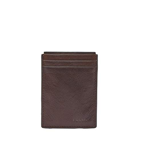 Fossil Men's Neel Leather Minimalist Front Pocket Card Case Wallet, Brown