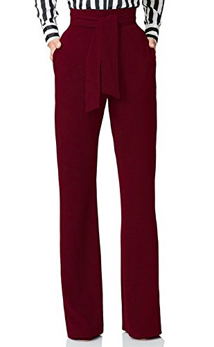 Lucuna Womens Casual Stretchy Straight Leg High Waisted Long Pants for Women,X-Large, 3 Wine Red
