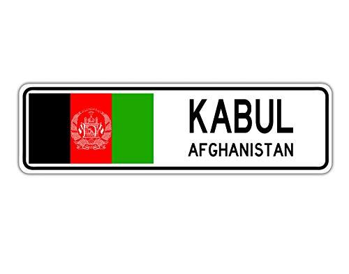 TNND New Kabul Jordanischer Straßenschild mit afghanischer Flagge, Landstraßenschild, 10,2 x 40,6 cm
