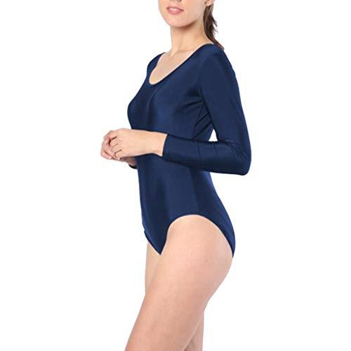 Damen Langarm Gymnastik Turnanzug Overall Bodysuit Ballettanzug Body Ballett Trikot für Sport Freizeit - Dunkelblau, XL