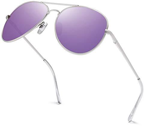 Hatstar - Gafas de sol unisex (unisex, con bisagra de muelle, UV400, CAT 3 CE) Marco de plata de 65 pulgadas, cristal morado con efecto espejo. Talla única
