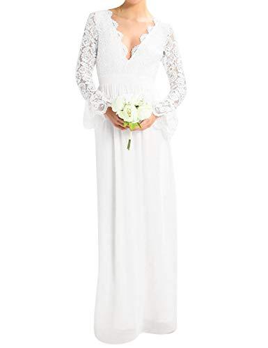 HUINI Damen Brautkleid Hochzeitskleid Lang Rückenfrei Spitzenkleid Standesamt Kleid Ballkleid Abendkleid mit Ärmel Weiß 50