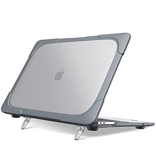 Fintie Hülle Kompatibel mit MacBook Air 13 (2018-2020 Freisetzung) A2337 (M1) / A2179 / A1932 Schwerlast Matt Harteschale mit Falten Ständer Kompatibel mit MacBook Air 13 Retina Bildschirm, Space grau