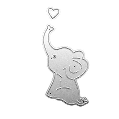 Muzhili3 Stanzschablone, niedlicher Cartoon-Elefant, Karbonstahl, Stanzschablone für Papier, Stoff, Scrapbooking, DIY Schablone – Silber