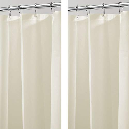 mDesign Juego de 2 cortinas de ducha de PEVA – Cortinas de baño impermeables con 12 ojales – Práctico accesorio para ducha fácil de instalar y mantener – 182,9 cm x 213,4 cm – beige