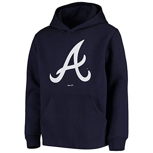 Outerstuff MLB Youth 8-20 Team Color Primary Logo Fleece Pullover Sweatshirt Hoodie (Youth - Small, Atlanta Braves Navy)