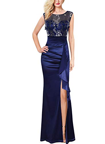 Vfshow Womens Blue Floral Embroidered Formal Ruched Ruffles High Split Evening Gown Prom Wedding Party Maxi Long Dress 3708 BLU 3XL