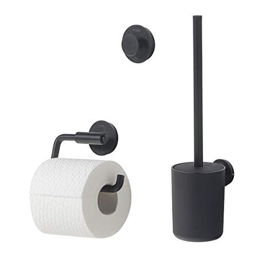 Tiger Urban Badaccessoire-Set, Edelstahl, Schwarz, 3-teilig, bestehend aus Toilettenpapierhalter, Haken und WC-Bürste, mit austauschbaren Dekor-Ringen zur individuellen Gestaltung