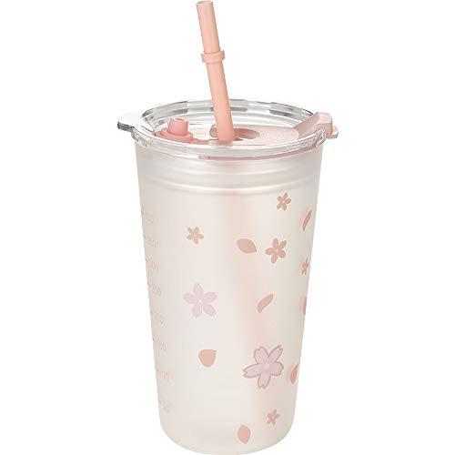 Copa de vino con vaso y hervidor con tapa, tapa y vidrio de borosilicato apto para microondas, apto para niños, mujeres, hombres (color de rosa)