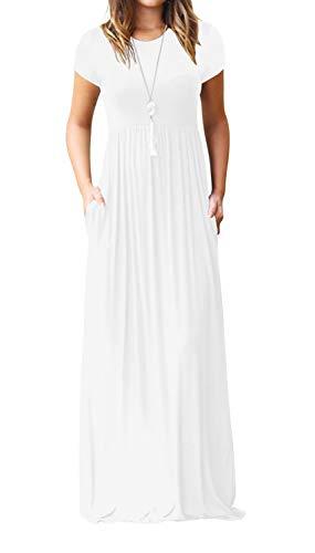 VIISHOW Women's Short Sleeve Loose Plain Maxi Dresses Casual Long Dresses with Pockets (White Large)