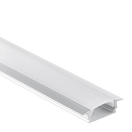 LED Aluminium Profil PL 8 subra LED Profil 2m f. LED Streifen und LED Flexbänder inkl. Abdeckung Opal (milchig)