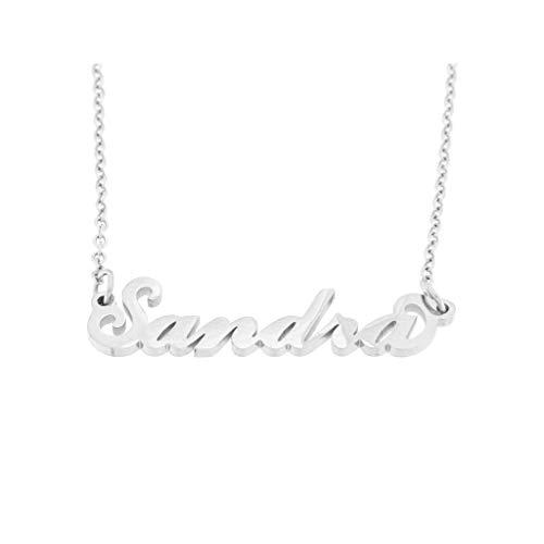 Flowers - Collar de acero pulido con nombre, estilo Carrie Bradshaw de Sexo en Nueva York, máxima elegancia, ideal como regalo Sandra