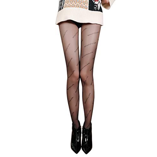 bibididi Femmes Sexy Nylon Soyeux Sheer Collants Belle Fille Lettres Imprimer Collants Minces, Collant Transparent Entrejambe Fermé, Noir