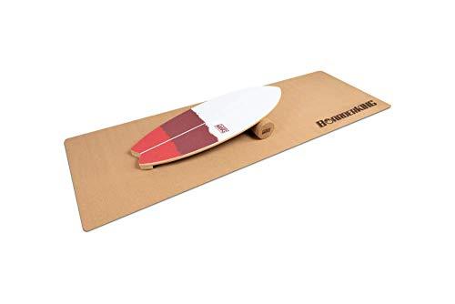 BoarderKING Indoorboard SURF - Skateboard Surfboard Trickboard Balanceboard Balance Board (100 mm (Kork)) (Red (100 mm x 33 cm (Ø x L))