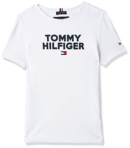 Tommy Hilfiger Logo Tee S/s Maglietta, Bianco (Bright White 123), 116 (Taglia Produttore: 6) Bambino