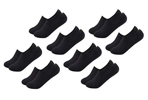 FOOTNOTE I 8 Paar I Unsichtbare Sneaker Socken Footies Füßlinge Invisible Socks mit Silikon Schwarz in 35 36 37 38